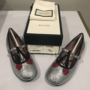 Gucci Silver Shimmer Ballet Flats Cherry Heart 1.5